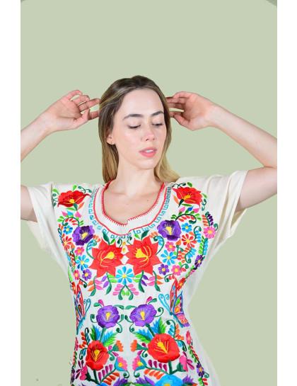 Vestido Bordado Oaxaca Natural-Médio