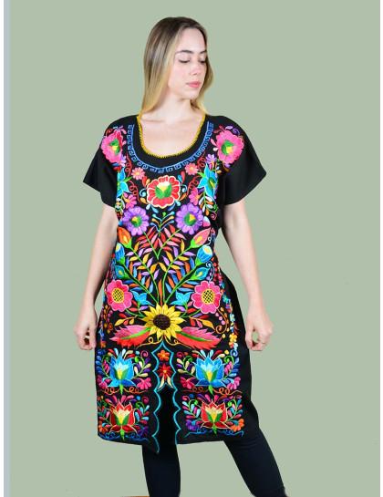 Vestido Bordado Oaxaca Preto-Grande