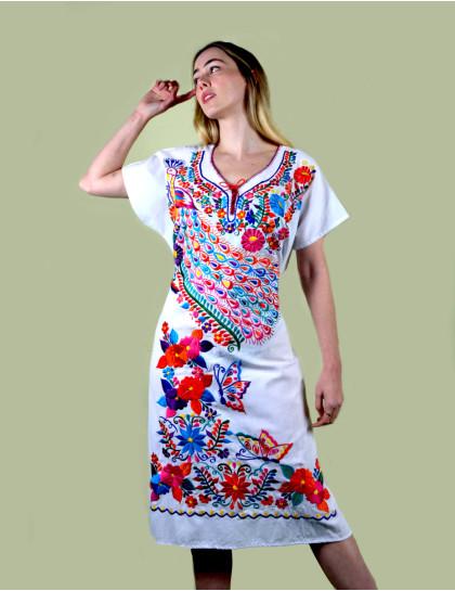 Vestido Mexicano Bordado Oaxaca Branco Grande II