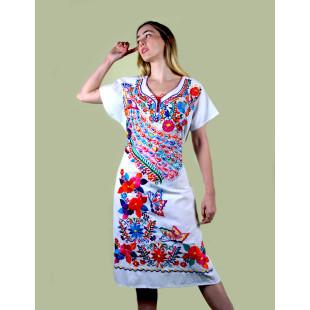 Vestido Mexicano Oaxaca | Algodão Bordado a Mão | Branco Grande